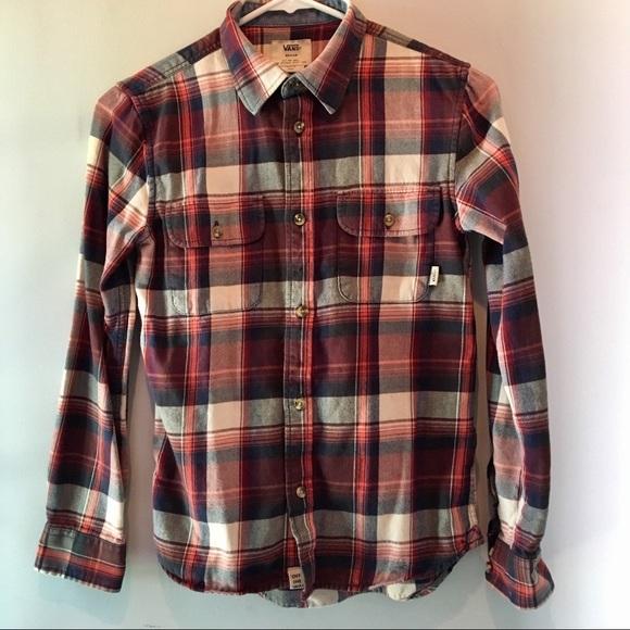 bdf2f735 Vans Boys Long Sleeve Plaid Flannel Shirt